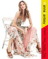 2013 New Romantic Flower Print Chiffon Bohemian Deep-V Spaghetti Strap Holiday Beach Long Maxi Dress Plus Size