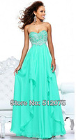 latest design tulle woman appliques turkish A-line ice blue prom dresses 2014
