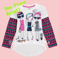 Free Shipping Cute Girls T shirt Brand Nova 100%Cotton Childrens Clothes Printed Lovely Tops Long Sleeve Striped Style 2-6Year
