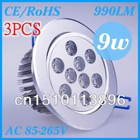 3X  Free Shipping  9w Led Recessed  Lights AC85-265V  CE& ROHS  Led Downlight  2-Years Warranty   Decorative lighting cree