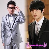 Male costume bridegroom slim formal dress married silver grey black suits