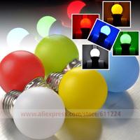 E27 1W LED Red, Green, Blue,Yellow,  White LED Ball Light Blub Lamp Energy Saving AC 220V
