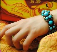 Hot-selling Pure Handmade Knitted Turquoise Fashion Ethnic Bracelet Bangle Vintage Bohemia Wholesale Jewelry Free Shipping.