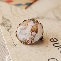Min Order $15(Can Mix Item)Vintage handmade girl bunny pattern imitation time gem brooch pin badge