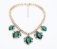Fashion fashion accessories box chain emerald drop pendant sweater necklace