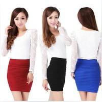 2015 Autumn and winter candy color a-line skirt, female slim hip skirt, high waist skirt,