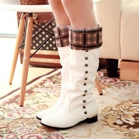 Free shoping New arrival 2013 white high-leg boots flat heel low-heeled boots autumn female spring and autumn boots