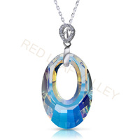 Austrian Crystal Oval Shape Pendants 925 Sterling Silver Pendants Inlay Zircon Free Shipping Women Gift 2013 New