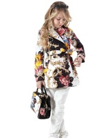 Super offer ! 2013 new autumn girls designer trench girls  printing  trench coat  kids children outwear