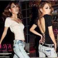 Western Style Ribbon cross halter sexy nightclub ladies V-neck short-sleeved T-shirt,Sexy shirt  slim women
