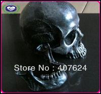 Wholesale Halloween Party Decoration Black 1:1 Resin Human Skull Replica