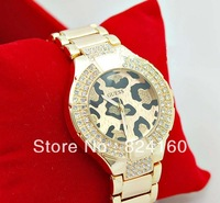 Fashion Free shipping 2013 newest for brand women lady G men wrist watch leopard stainless steel diamond