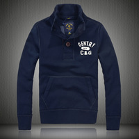New arrival male 100% cotton water wash slim american casual outerwear buttons print stand collar sweatshirt 8816b