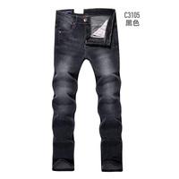 2013 male black jeans male slim dark grey straight denim trousers 3105 black