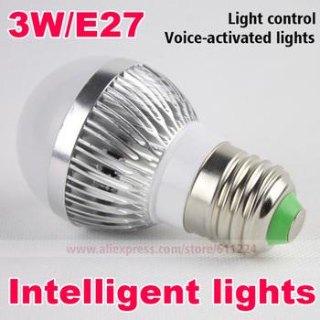 2PCS/lot 3W High Brightness E27 LED Bulbs Sound and Light Control Sensor Lights Corridor Light Energy Saving Lamps Free shipping