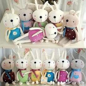 Free ship!30pc!Rabbit mobile phone pendant / plush toy doll / wedding dolls / Creative small gifts(China (Mainland))