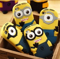 Brand Designer 3D Cute Cartoon Despicable Me Minion Soft Silicone Back Universal Cases Cover For Apple Iphone 5 5G Defender Ski