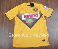 2013-14 High Thailand Quality Mexico Club America Martinez Chucho Home Yellow Football Soccer Jerseys Uniforms Shirts Embroidery
