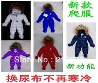 Newborn baby warm down romper,baby boys and girls winter bodysuit infant hoodie down jumpsuit Baby one piece down coat
