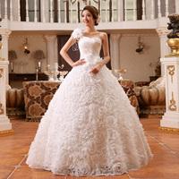 2014 Wedding Dresses New Arrival Fashion Plus Size One Shoulder Lace Rose Flower Bandage Lacing Princess Prom Dress Custom Made