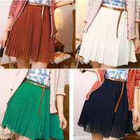 Women's Vintage Fashion Pleated Mini Skirts Chiffon Waist Short skirts+Belt
