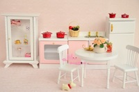 Free Shipping ! Wood Pink White Kitchen Dinning Room Set 7PCS~ 1/12 Scale Dollhouse Miniature Furniture