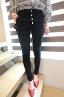 Size d autumn female buckle high waist elastic slim trousers pencil pants black and white