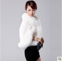 Free Gift Eleon2013 autumn and winter luxury fox fur rex rabbit hair waistcoat cloak fur coat top 8526