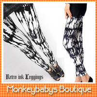 New Arrive 2013  Women Modal Cotton Capris Patchwork Print Black White Cool Skinny Leggings Woman Slim Footless Pants Free Size