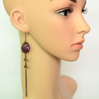 Goths three-color rose tassel long earrings accessories
