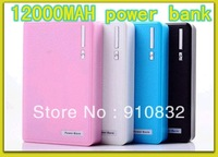 Wallet style power bank 12000mah With LED Lighting Power Bank External Battery Pack For Phone MP5, UPS shipping 100pcs/lot