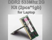 Free Shipping 2GB Kit 2*1GB Brand New memoria ram SODIMM Memory Ram DDR2 2G 533Mhz PC2 4200 For Notebook Laptop