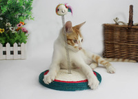 Free shipping Pet toy Cat playthings Sisal spring plate with a mouse 2013 Newest Pet toy