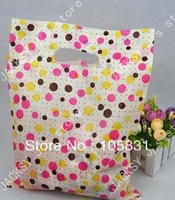 50x Polka Dot PE Plastic Gift Bags with handle for Shopping Clothing  t-shirts retail packaging Medium size 30x40cm thick 0.12mm