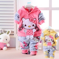 2013 children's clothing autumn and winter infant hello kity cat velvet twinset with a hood sweatshirt trousers