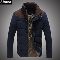 2013 men's slim stand collar color block decoration cotton-padded jacket thermal thickening wadded jacket casual outerwear male