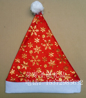 Double layer gold silver christmas hat pleuche Christmas hat quality christmas hat