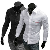 167 New Men Stylish Casual Slim Fit Long Sleeve Dress Shirt colour BLACK,WHITE