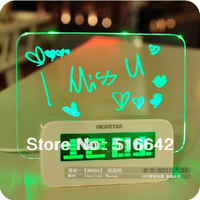 Electronic clock  led luminous multifunctional neon message board alarm clock  free shipping