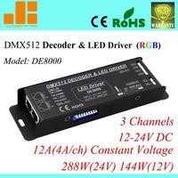 Free Shipping 12V DMX controller DMX RGB decoder & LED driver 3CH  DE 8000
