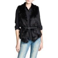 Free Shipping 2013 New Fashion Winter Warm Women Fur Vest Coat Outwear Large Size Black