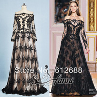 2013 Real Pictures Of Sfanni Off the Shoulder Long Sleeve Black Appliques With Bead A-line Famous Design Evening Dresses
