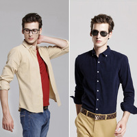 UYUK corduroy shirt 2013 new men's fashion casual long-sleeved shirt Slim Pure Cotton free shipping