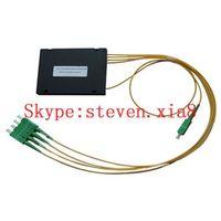 Free Shipping, PLC Fiber optic splitter, 1 x 4, with ABS box, SC/LC Connector, PLC Splitter