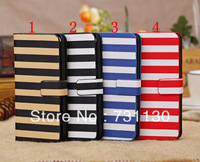 New Arrival Genuine Leather Colorful Stripe leather Case for iPhone 5C with Card Holder Stand Function
