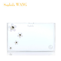 new 2013 wholesale European Women's Brief Transparent Day Clutch Designer Daisy Fashion Acrylic Evening Bag Handbag box clutch