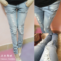 Free shipping Summer 2013 hole jeans pencil pants female all-match denim trousers