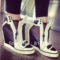 Free shipping good quality girls fashion breathe freely drop ship white and black wedge heel sneakers for women