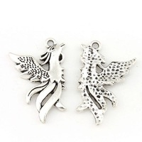 Lots 40pcs Tibetan Antique Silver Phoenix Pendant 32*22*2mm Jewelry Making DIY 41902