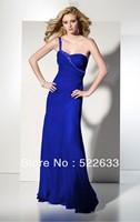 Free Shipping Royal Blue Sheath Floor-length One Shoulder  Long Evening Dress 2014